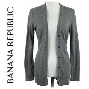 BANANA REPUBLIC | Gray Wool Blend Cardigan Sweater